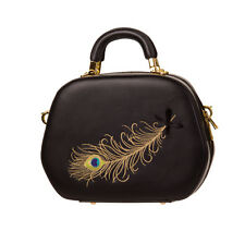Banned NO TRACE 50s Vintage PEACOCK Pfauenfeder Pin Up TASCHE Rockabilly