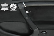 GREY STITCHING 2X FRONT DOOR HANDLE LEATHER COVERS FITS SAAB 95 9-5 2006-2009