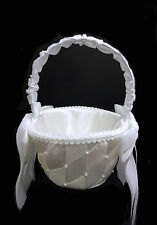 White Criss-Cross Design Flower Girl Basket. Flower Basket. 8 Inches Tall.