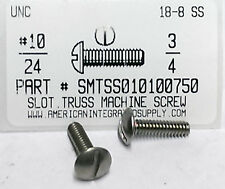 10-24x3/4 Truss Head Slotted Machine Screws Stainless Steel (25)