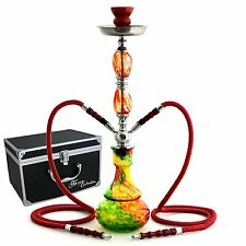 Glass Hookah Bong Red Swirl Bowl Pipe Hose Set Tobacco Smoke Charcoal Vase New