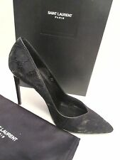 $795 Saint Laurent Women's Paris Lace Black and leather Pumps size US 9   39 NEW