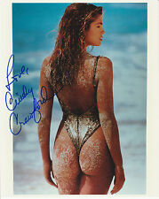 CINDY CRAWFORD  8 X10 AT THE BEACH FROM THE BEHIND !! NICE BUNS ! W/COA