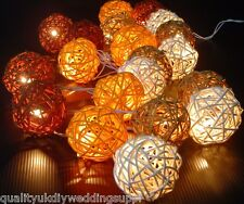 Solar Sun Powered Autumn Browns Rattan Ball LED Fairy Lights 20 Light Wicker