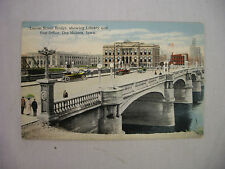 VINTAGE POSTCARD TOWN VIEW LOCUST STREET BRIDGE IN DES MOINES IOWA UNUSED