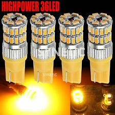 4x T10/168/921/194 RV Trailer Interior 12V 3014 Chip Amber 36LED Car Light Bulbs