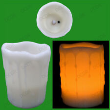 "Blow Out To Turn On/Off Flickering Flame Drip 4"" Wax Candle Effect LED Light"