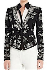 "$398 BCBG BLACK ""BOWIE"" LONG SLEEVE EMBROIDERED JACKET TOP NWT XS"
