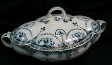 early and not marked / perfect but odd shaped flow blue & white porcelain tureen