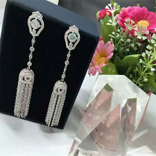 18k White Gold GF Long Bling Tassel Earrings w/ Swarovski Crystal Stone Trendy