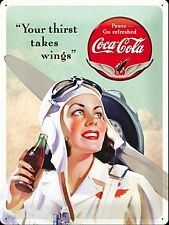 Coca Cola Your Thirst Takes Wings large embossed metal sign 400mm x 300mm (na)