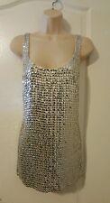 Carmen Marc Valvo sz 12 Silk Shell Tank Top Silver Sequins Shirt