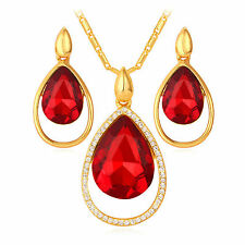 New 18K Gold Plated Red Swarovski Element Crystal Pendant Necklace and Earring