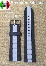 22 mm M Pallini Oyster-Style Silicone Black Gray Diver Scuba Strap Fit Seiko