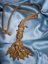 ONE ANTIQUE ITALIAN  GOLD  METALLIC TASSEL PASSEMENTERIE RHINESTONES BEADS