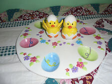 Egg plate with salt and pepper shakers for Easter Decorating GUC baby chicks fun