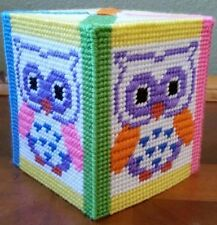 Handmade Needlepoint Plastic Canvas Tissue Box Cover - Neon Bright Owl