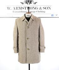 Men's VTG 70's Brown DUNN & CO WOOL Tweed Overcoat MOD Smart Mad Men Coat UK M