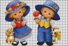 Needlework Crafts Full Embroidery Counted Cross Stitch Kits Boy and Girl