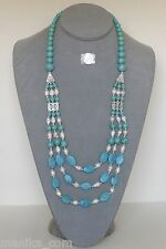 Turquoise beads and white freshwater pearl 24 to 32-inch 3-strand necklace (New)