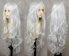 HELLOJF47   vogue women's Silver White Wavy Lolita Princess Party Cosplay Wig