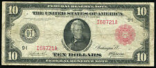 FR. 900a 1914 $10 TEN DOLLARS RED SEAL FRN FEDERAL RESERVE NOTE SCARCE