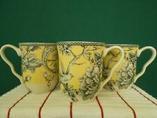 222 Fifth Adelaide Yellow Bird Set of 4- 12oz Coffee Cups New