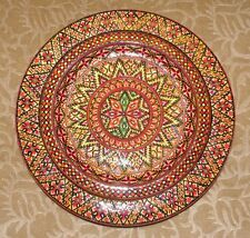 Ukrainian Wooden Hand Painted Wall Plate With Geometrical Ornament