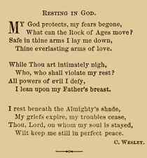 A4 Photo Wesley Charles 1707 1788 Rock of Ages Poetry 1870 Resting in God Print