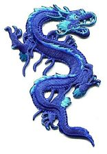 DRAGON royal blue EMBROIDERED IRON-ON PATCH -chinese, karate, martial arts p3507