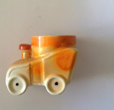 Train shape Egg Cup   Hand Painted  Colourful Orange Lustre Ware