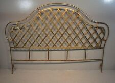 Custom Hollywood Regency Wrought Iron Latticework Antique Gold King Headboard