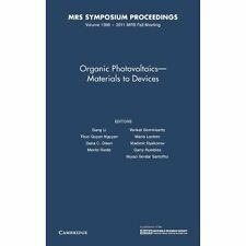 Organic Photovoltaics-Materials to Devices. Hardcover 9781605113678 Cond=LN:NSD