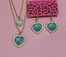 bj120 Betsey Johnson Vintage Look Blue Heart Necklace Set w/Tags