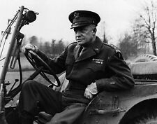 "General of the Army, Dwight D. Eisenhower in a Jeep 8""x 10"" WWII Photo 399"
