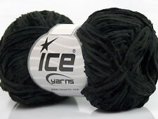 Lot of 8 Skeins Ice Yarns THIN CHENILLE Hand Knitting Yarn Black