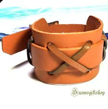 Men's Cool Ancient Roman Gladiator Style Leather Hip Hop Bracelet Wristband