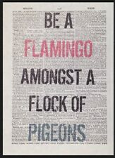 Pink Flamingo Quote Quirky Funny Print Vintage Dictionary Page Wall Art Picture