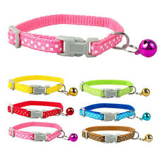 Nylon Dots Print Small Puppy Kitten Kitty Cat Collar with Bell Variety of Colors