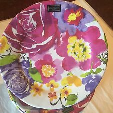 Cynthia Rowley Spring Floral MELAMINE Dinner Plates Set Of 4 Purple And Pink New