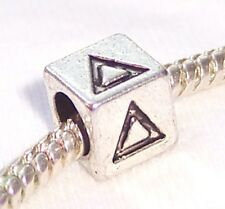 Delta Symbol Uppercase Greek Letter Numeral Cube Bead for Euro Charm Bracelets
