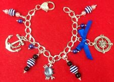 **Handcrafted Unique Elegant Nautical Charm Beaded Silver Plated Bracelet**