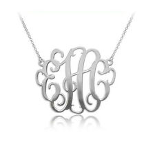 1.5 Inch Monogram Necklace in Sterling Silver 0.925 - Personalized (USA Seller)