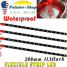 "4pcs 12"" Red Flexible LED Strip Car Motor Boat Truck Decor Light Waterproof 12V"