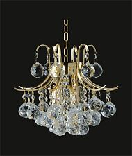 "Graceful 3-light CRYSTAL CHANDELIER, GOLD (D13"" x H15"") ON SALE! GREAT GIFT"