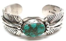 Navajo Handmade Turquoise Sterling Silver Feather Bracelet- M. Thomas