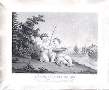 Gravure au pointillé de Claude-Joseph Pomel, Angelots, Les petits pêcheurs, 1820