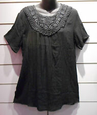 Top Fits XL 1X Tunic Western Blouse Wide Lace Chest Black Rodeo Stretch NWT DC63