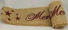 "Merry Christmas Burlap Ribbon with Burgundy Writing, 4"" x 10' - by Country House"