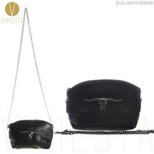 PUNK Gothic Shoulder Clutch Handbag BLACK COW GOAT CHAIN CROSSBODY BAG PURSE